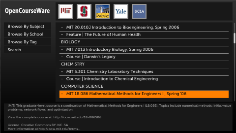 OpenCourseWare screenshot